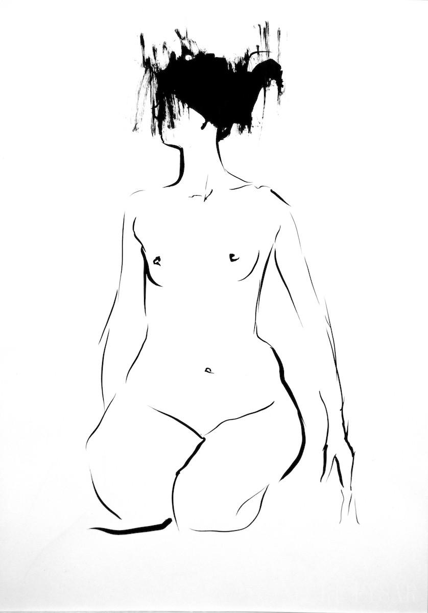 nude art, female sketch, Akt