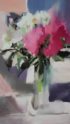 still life painting with the bouquet of peony flowers