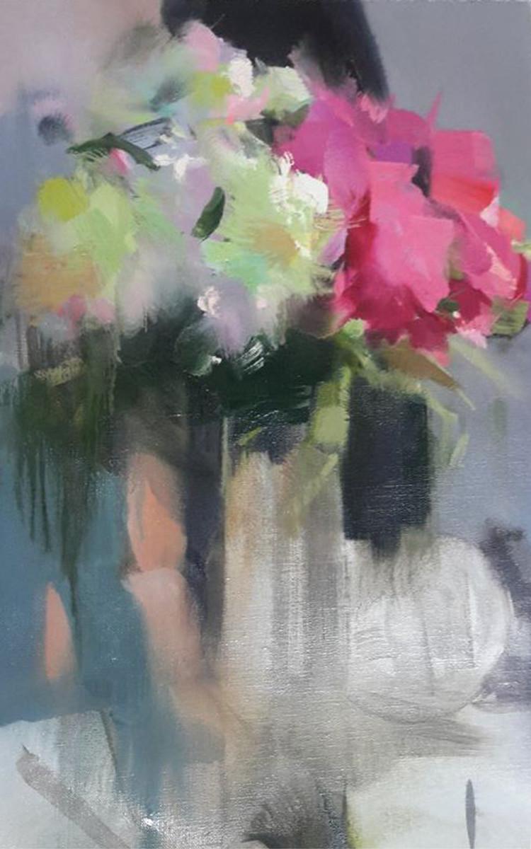 картина маслом букет квітів  піонів