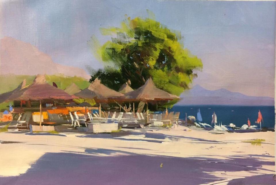 the oil beach painting, Makarska