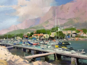 marine painting of sailing boats and yachts of Makarska harbour