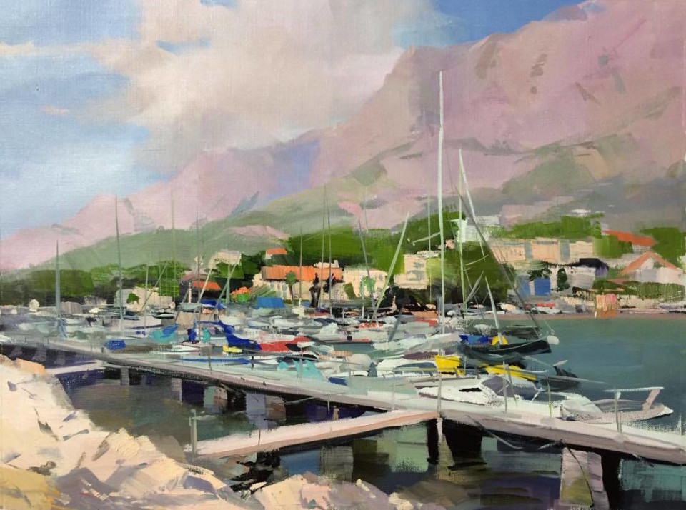 marine painting of sailing boats and yachts of Makarska harbour