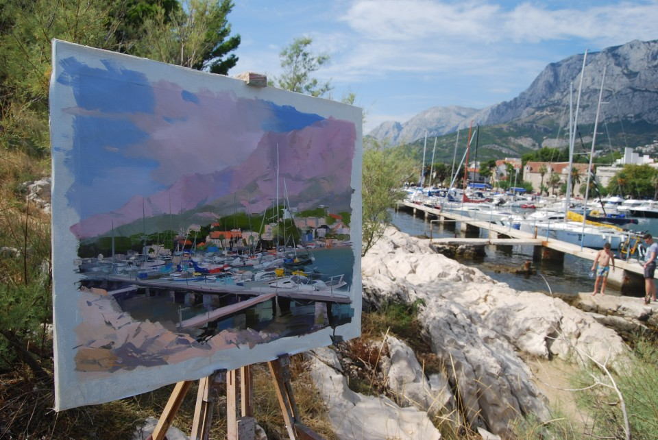 Makarska harbour painting with many sailing boats