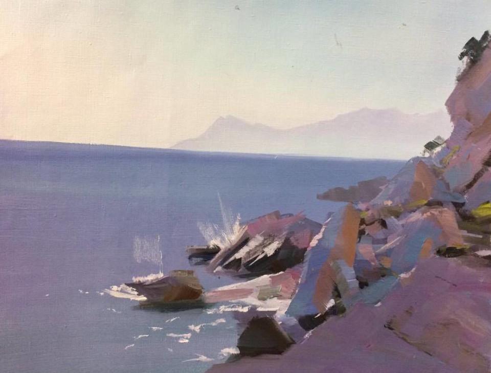 oil painting of cliffs and rocks in Makarska