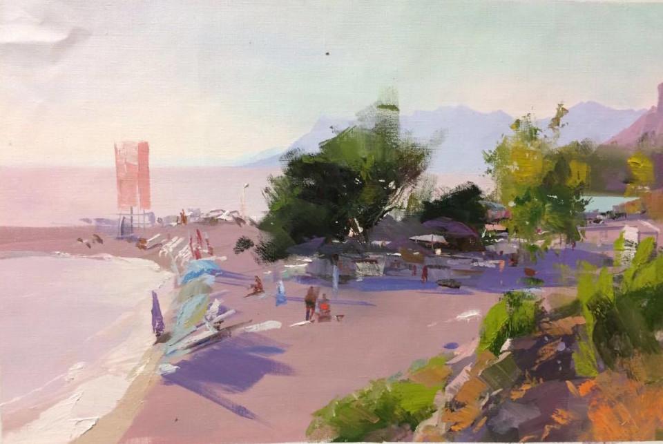 the most beautiful beach in Makarska in painting