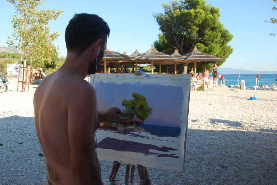 the oil painting of the best beach in Makarska riviera