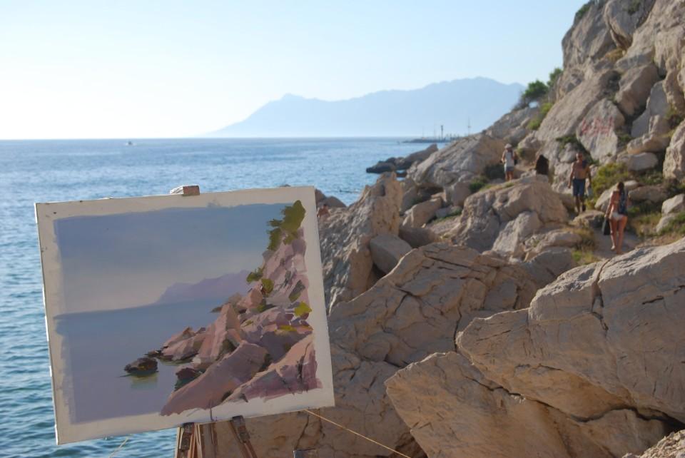 Makarska coastline in the oil painting