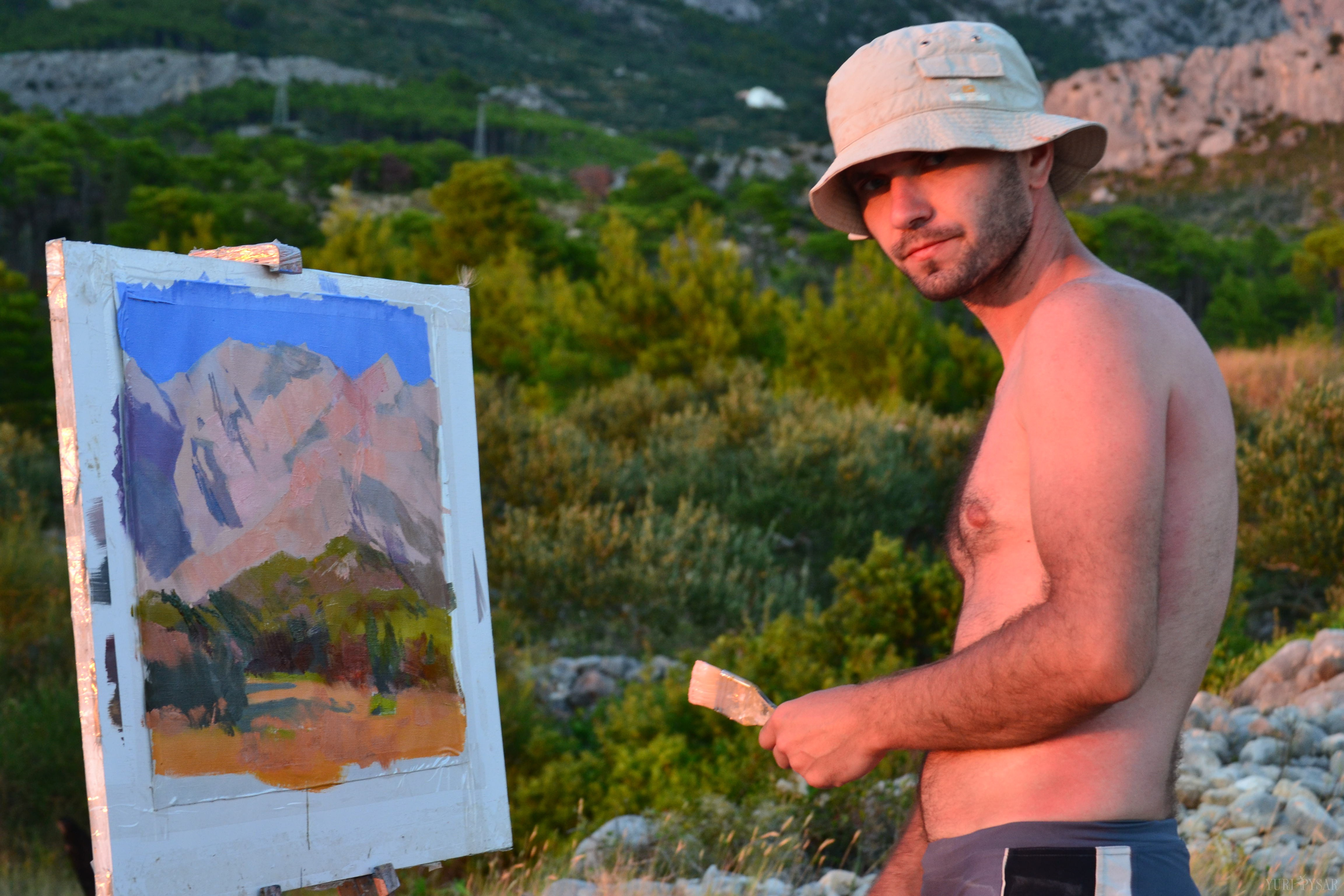 landscape painting with the view on biakovo mountains