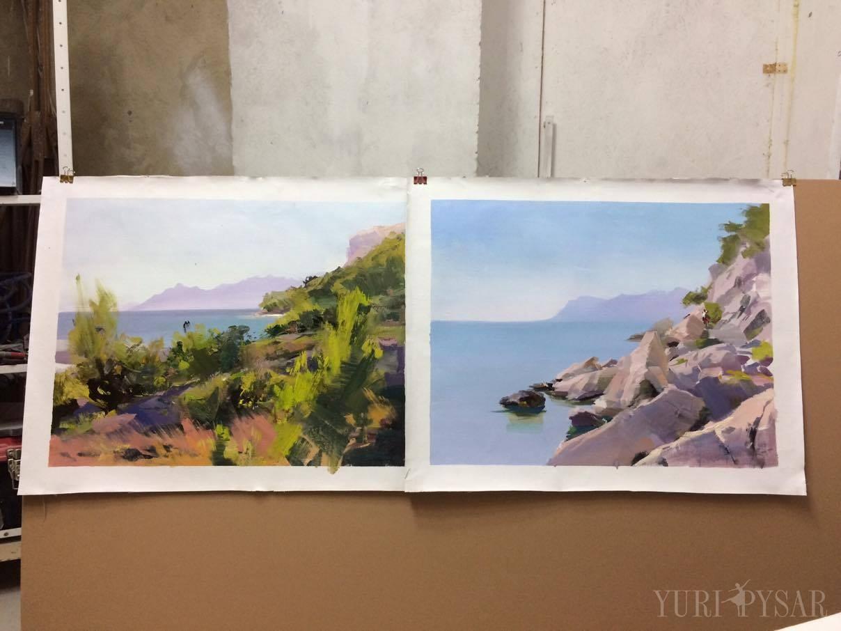Makarska, Croatia coastline in oil painting