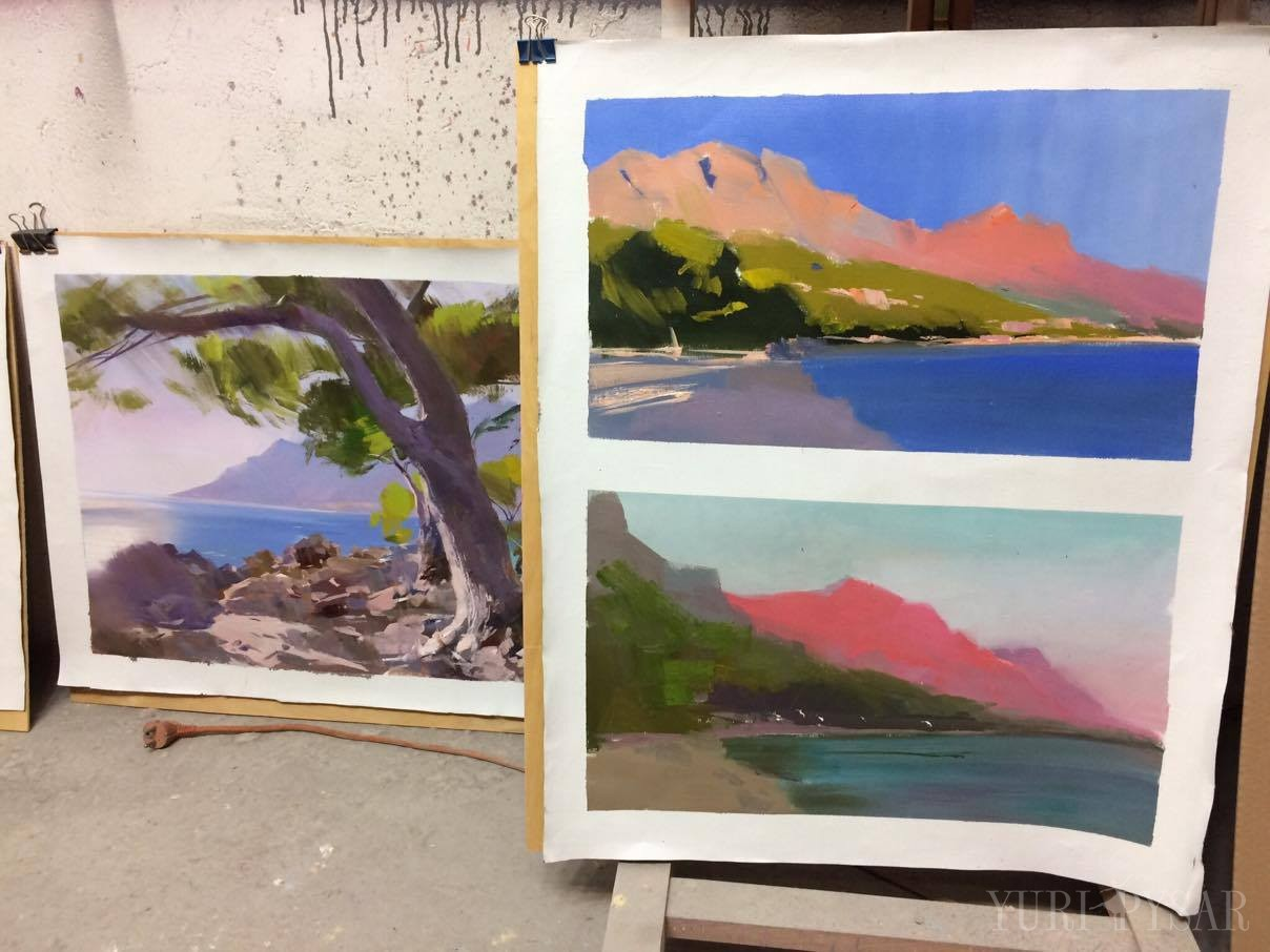 oil paintings of biakovo mountains by sunset, Makarska