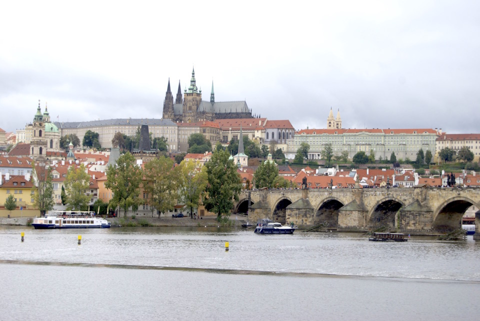 view onto the Charles bridge in Prague and Old town