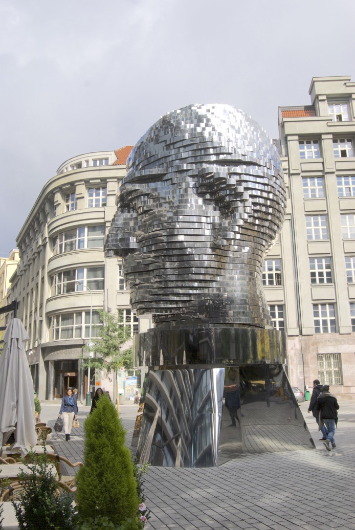 the sculpture of Franz Kafka in front of Quadrio shopping centre in Prague