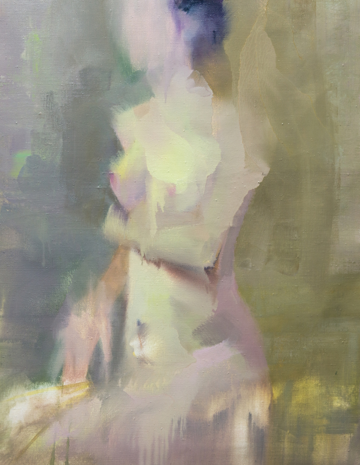 contemporary abstract painting of nude female figure in floral green