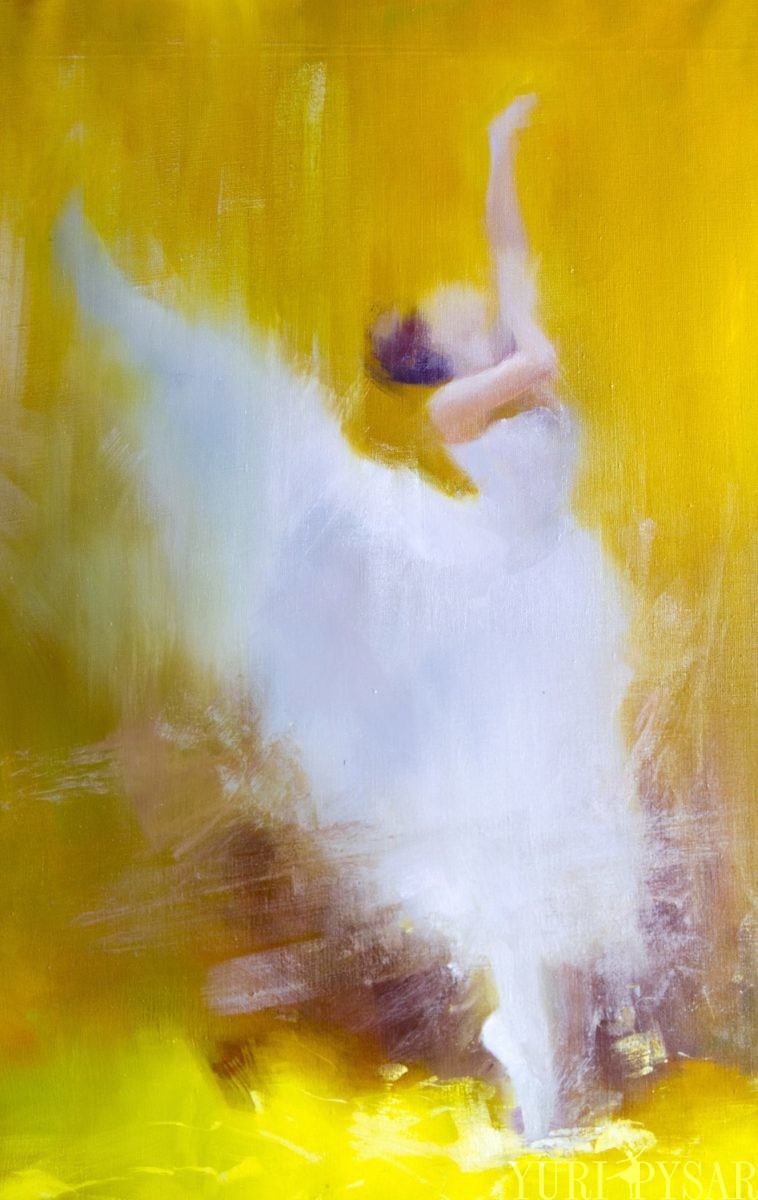 yellow painting of contemporary ballerina, art on canvas