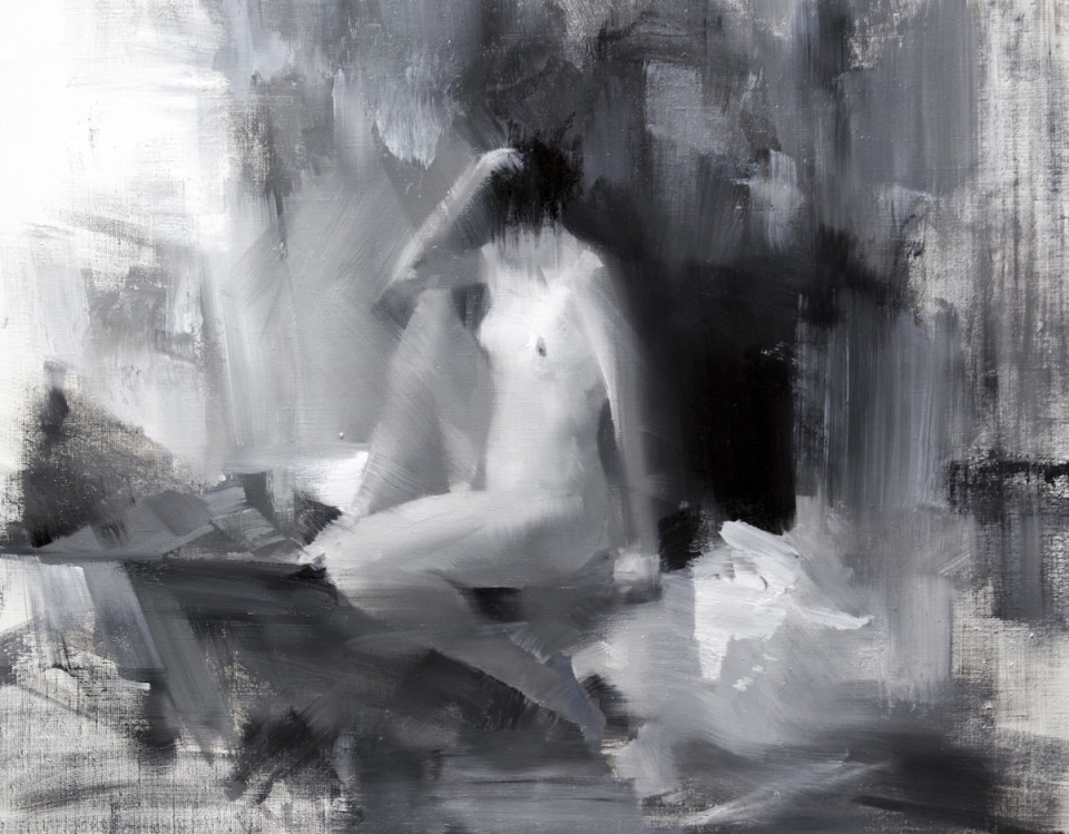 nude painting of a naked female created with oil on canvas in an abstract way