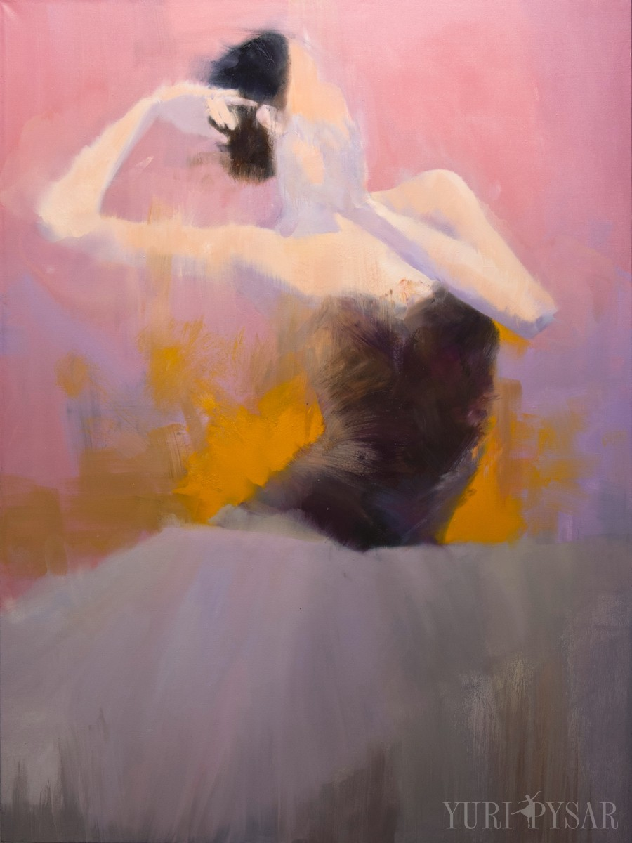 large format painting of ballerina in oil on canvas