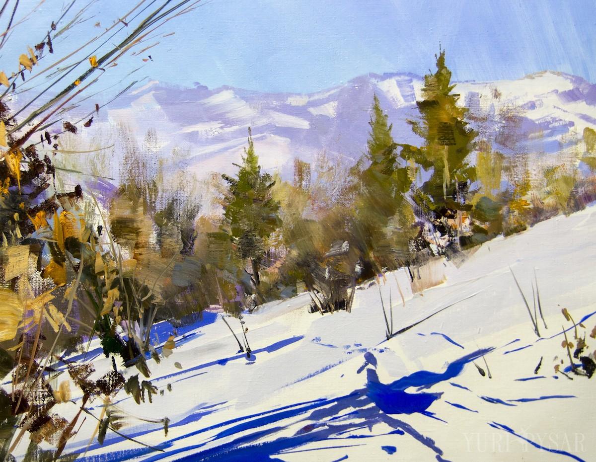 зима пейзаж картина маслом гори карпати