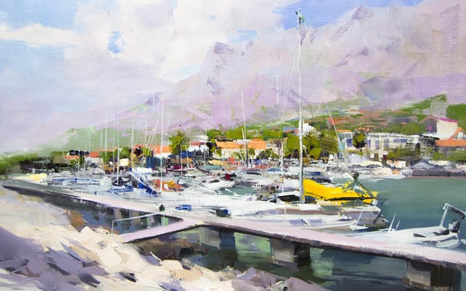 картина маслом морський пейзаж Хорватії,