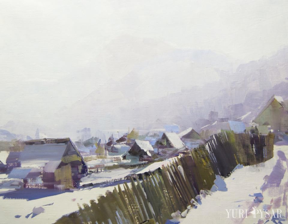 original landscape painting plein air art of mountains and village