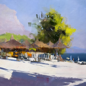 makarska painting in oil on canvas, beautiful seaside view in Markarska, Croatia