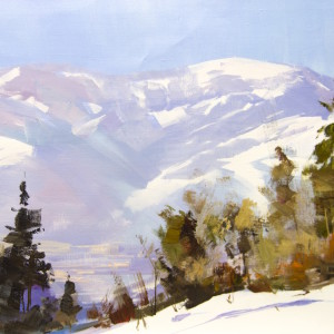 original oil painting of mountains in winter