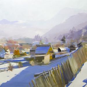 картина маслом зимовий пейзаж карпати