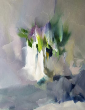 abstract painting of lilacs in blossom in contemporary style