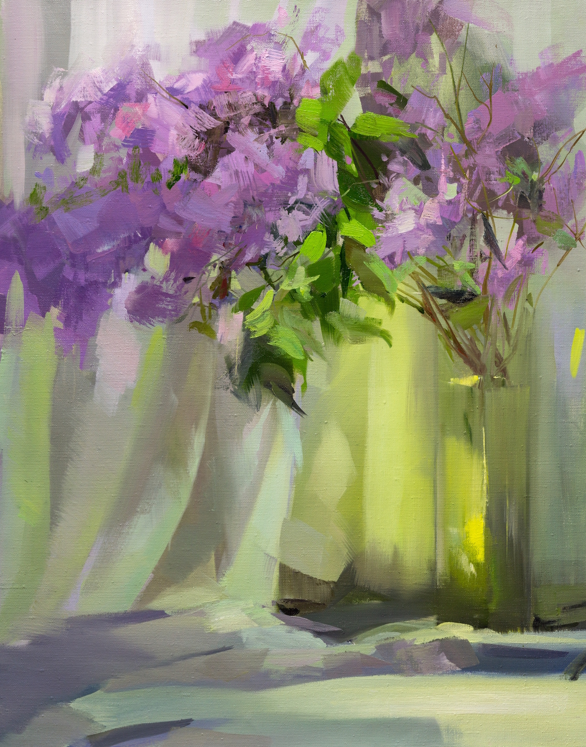 contemporary oil painting of lilacs blossom in spring
