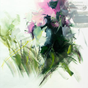 abstract painting of oil flowers on canvas is original contemporary art