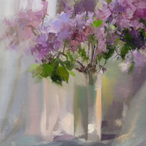 contemporary still life painting of lilacs in oil on canvas
