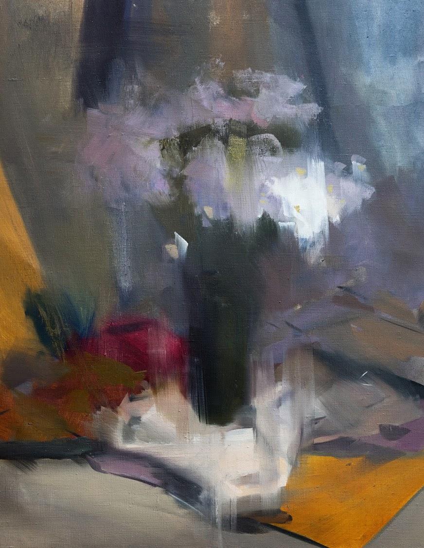 абстактна картина натюрморт з білими ромашками