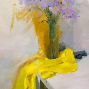 картина живопис натюрморт з квітами ліловими на жовтому