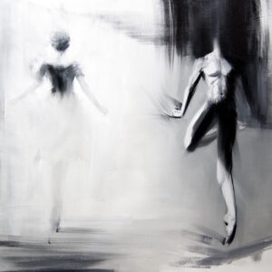 black and white contemporary painting man and a woman