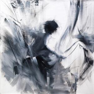 original black and white painting of a female dancer elegant artwork