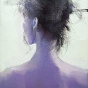 woman back painting in deep purple by yuri pysar